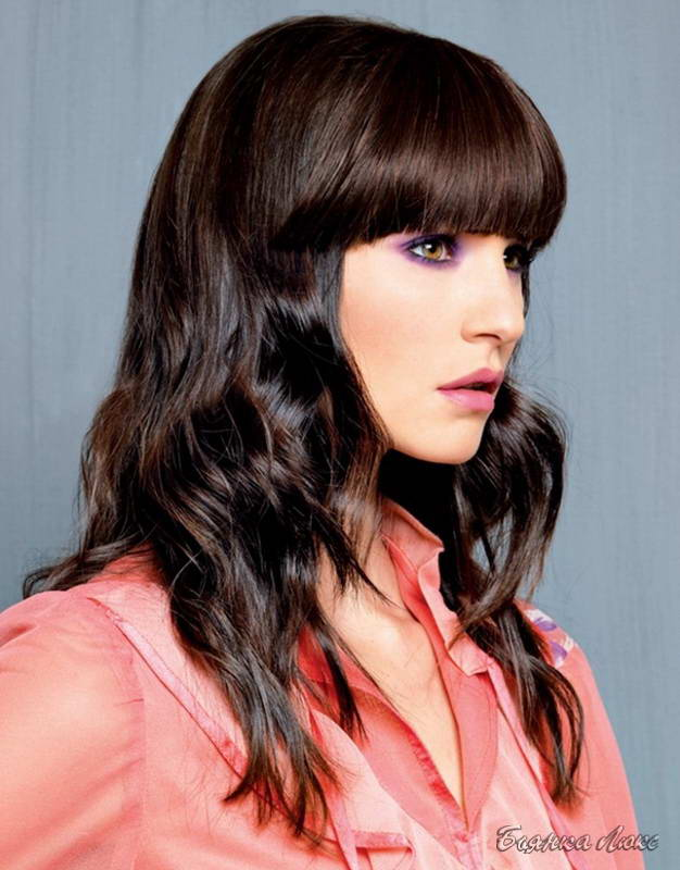модные прически на длинные волосы с челкой 2012
