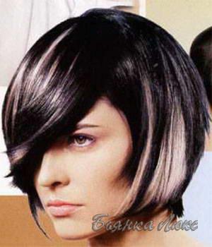 Окрашивание черное с белым на средние волосы