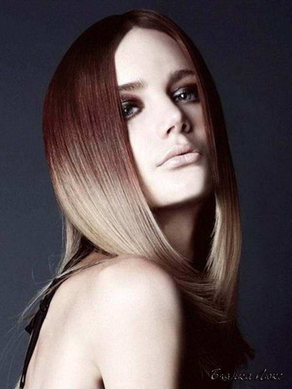 Коричневые волосы и на концах рыжие