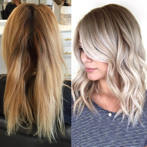 Пепельный блонд на русые волосы фото до и после
