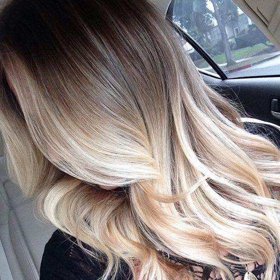 Омбре блонд на темные волосы