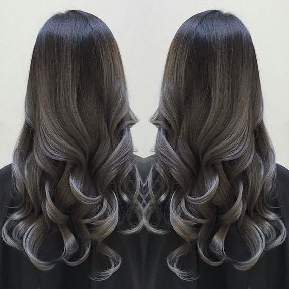 омбре на чёрные длинные волосы фото