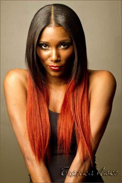 покраска волос черный и красный