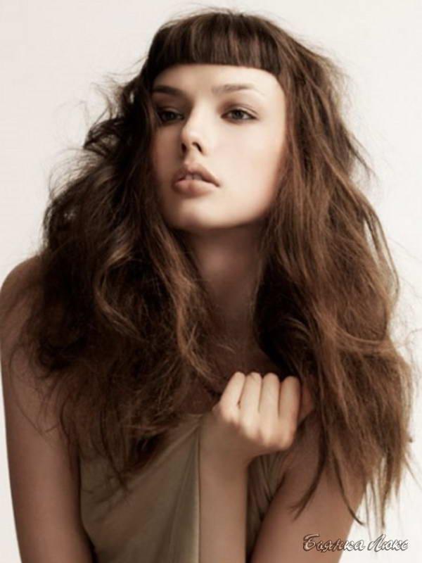 длинная челка на длинные волосы фото