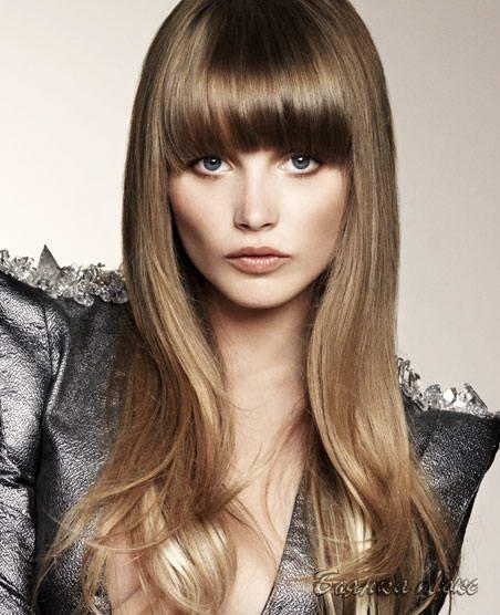 Длинные прямые волосы с чёлкой